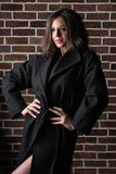 Gorgeous brunette girl with long curly hair wearing coat, posing near brick wall royalty free stock photos