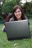 Gorgeous Brunette Lady and Laptop Computer Stock Images