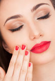 Gorgeous brunette in makeup. Stock Photography