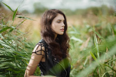 Gorgeous brunette outdoors Royalty Free Stock Images