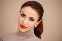 Gorgeous brunette with red lipstick Royalty Free Stock Photo