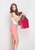 Gorgeous brunette shopper girl. Stock Photos