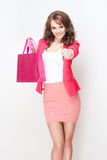 Gorgeous brunette shopper girl. Royalty Free Stock Images