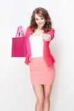 Gorgeous brunette shopper girl. Royalty Free Stock Images