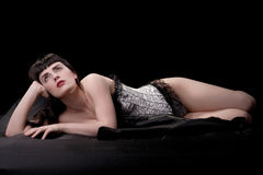 Gorgeous brunette in silver corset Royalty Free Stock Images
