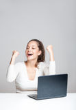 Gorgeous brunette using laptop. Royalty Free Stock Images