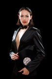 Gorgeous brunette wearing a black suit Royalty Free Stock Photos
