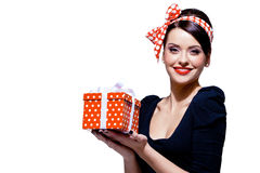 Gorgeous Brunette With Gift Box Royalty Free Stock Photos