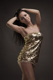 Gorgeous brunette woman dancing Royalty Free Stock Photo