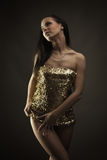 Gorgeous brunette woman dancing Stock Photos