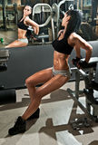 Gorgeous brunette working on her abdomen in a gym, mirror reflection. Fitness woman doing workout. Sporty girl doing exercise Stock Images