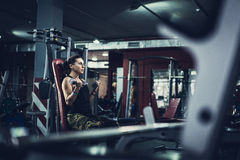 Gorgeous brunette working on her biceps in a gym Stock Image