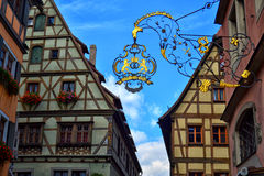 Gorgeous Buildings in Germany. Some beautiful half-timbered buildings with gable roofs in Rothenburg ob der Tauber. In the town district of Ansbach of Stock Photos