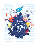Gorgeous bunch of rose flowers and leaves, colorful Easter eggs, hand lettering and cute little bird sitting on top Royalty Free Stock Images