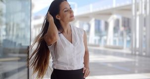 Gorgeous Business Woman Standing on Urban Street stock footage