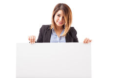 Gorgeous businesswoman with a message Royalty Free Stock Photo