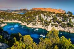 Gorgeous Calanques de Port Pin in cassis, vicino a Marsiglia, la Francia immagine stock