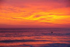 Gorgeous California Pacific ocean sunset spectacular turning the sea the color of dreams. Gorgeous California sunset turning the sea the color of dreams and stock photos