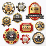 Gorgeous casino golden labels. Collection of gorgeous casino golden labels design set Stock Photos