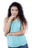 Gorgeous casual woman with curly hair Stock Images