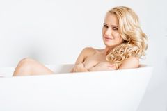 Gorgeous Caucasian Woman Inside White Bathtub Stock Photography