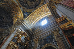 Gorgeous ceiling of the baroque chirch in Rome Royalty Free Stock Photos