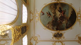Gorgeous ceilings and interiors of the Catherine Palace in St. Petersburg. SAINT-PETERSBURG, RUSSIA - MAY, 2015: Gorgeous ceilings and interiors of the stock video