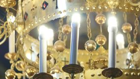 Gorgeous chandelier in the church.  stock video footage