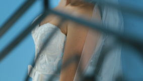 Gorgeous charming bride in a luxurious dress, tracking shot from bottom up. Beautiful sensual young girl in a white gown stock footage