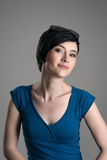 Gorgeous charming young short hair woman smiling at camera Royalty Free Stock Photo