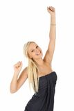 Gorgeous Cheering Blonde Girl Stock Photo
