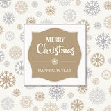 Gorgeous Christmas card with silver and golden snowflakes Royalty Free Stock Photos