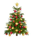 Gorgeous Christmas tree in red and gold Stock Image
