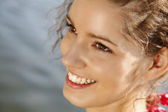 Gorgeous Closeup Smile. Closeup Photo Of A Beautiful Innocent Girl Smiling Royalty Free Stock Photography