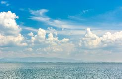 Gorgeous cloudscape over the Zemplinska Sirava. Beautiful and calm scenery of one of the largest Slovakian body of water Royalty Free Stock Photography