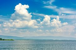 Gorgeous cloudscape over the Zemplinska Sirava. Beautiful and calm scenery of one of the largest Slovakian body of water Stock Photography