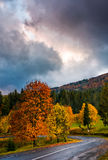 Gorgeous cloudy sky over colorful foliage on serpentine. Colorful foliage on serpentine in rainy fall weather. gorgeous cloudy sky over the mountains in evening Stock Photo