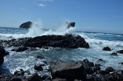 Wild see at Mosteiros, Sao Miguel, Azores, Portugal royalty free stock photos