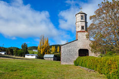 Gorgeous Colored and Wooden Churches, Chiloe Island, Chile Stock Image