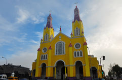 Gorgeous Colored and Wooden Churches, Chiloe Island, Chile Royalty Free Stock Photo
