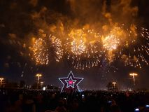 Gorgeous colorful fireworks on Victory Day. Crowd of people watching fireworks. Moscow, royalty free stock photography