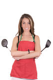 Gorgeous cooking woman in apron Stock Images