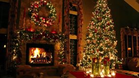 Gorgeous cosy domestic romantic lovely atmosphere festive Christmas tree New Year Eve Noel fireplace light interior