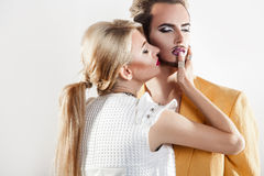 Gorgeous couple in love. both with nice makeup Royalty Free Stock Photography