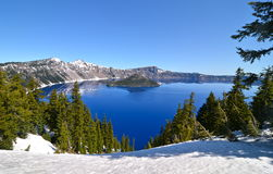 Gorgeous Crater lake on a spring day, Oregon Stock Images