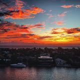 Gorgeous Dawn Sunrise Over the Atlantic Ocean and Intracoastal Stock Photos