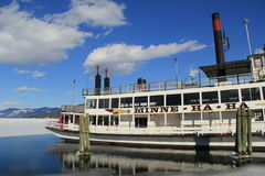 Gorgeous day on the melting waters of Lake George, with still working steamboat,Minne Ha-Ha,New York,2015 Royalty Free Stock Photo