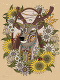 Gorgeous deer coloring page Stock Image