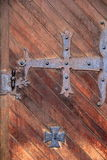 Gorgeous detail of old door and heavy hardware Royalty Free Stock Photo