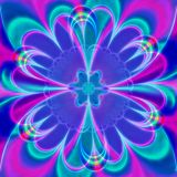 Digital lilac flower, computer generated, 3D rendering fractal art vector illustration